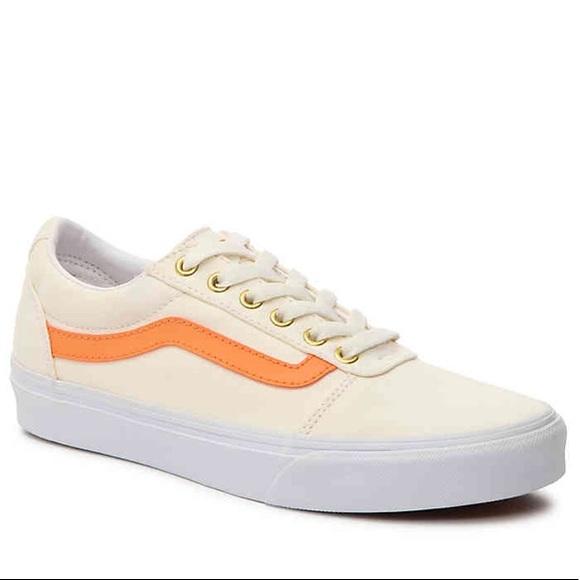 a12eca37bae4 Vans Ward Lo Canvas Sneakers Tangerine Off White